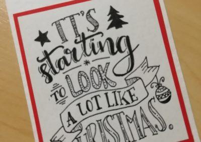 Handlettering-Weihnachtskarten und Kese zum Verschenken